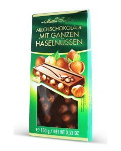 Milk Chocolate With Whole Hazelnuts Bar 100gr (4 pcs)