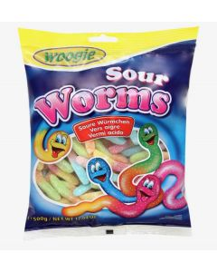Sour Gummy Worms 500g bag (2 pcs)