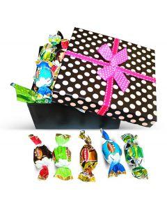 Gran Misto Italian Great Chocolate Truffles Pink Polka Dots Box w/Bow (1 pcs)