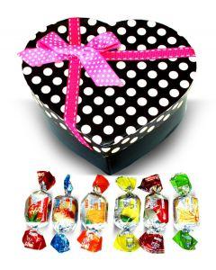 Valentine Greek Harvest Bounty Fruit Jellies Mix Pink Polka Dots Heart Box w/Bow (1 pcs)