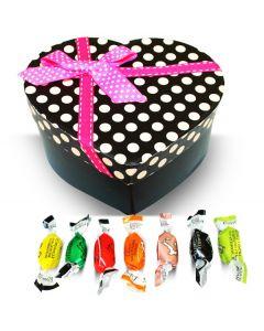 Valentine Italian Filled Candy Assortment Pink Polka Dots Heart Box w/Bow (1 pcs)