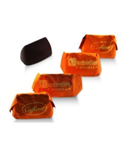 Mini Cinnamon Gianduitto Smooth Dark Chocolate Gianduia And Piadmontese Hazelnuts In Orange Wrapper