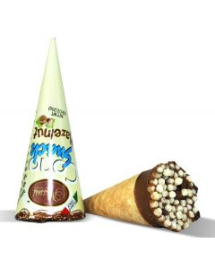 Italian Milk Chocolate Waffle Cone Filled w/ Gianduia Hazelnut Cream. (8 pcs)