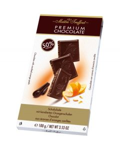 Premium chocolate 50% with candied orange peels 100g (4 pcs)