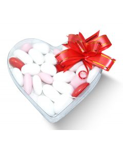 Valentine Italian White And Red Almond Confetti Clear Heart Box w/Bow (5 oz)